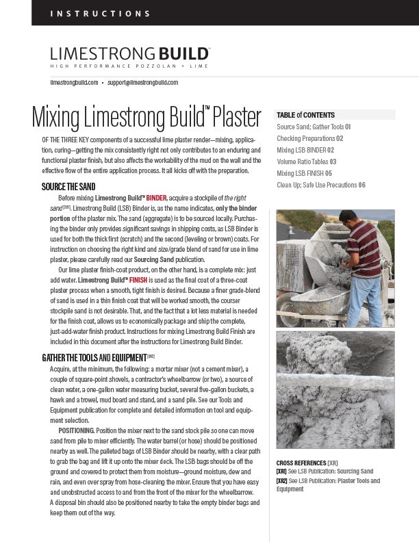 Mixing Limestrong Build plasters