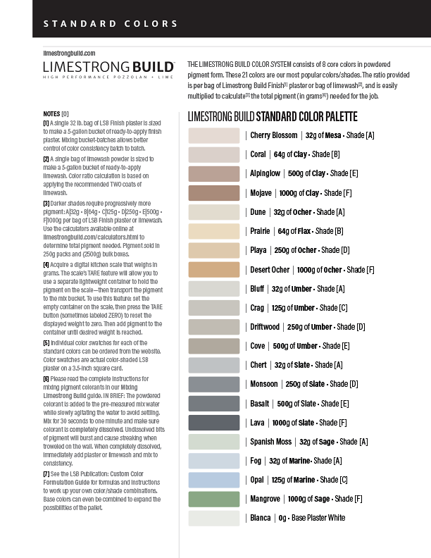 Limestrong Build Standard Color Pallet one-sheet