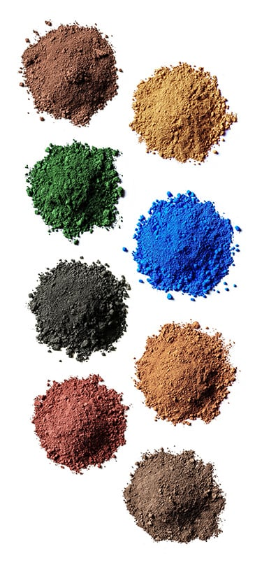 the eight core powdered pigments